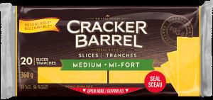 Cracker Barrel Cheese Slices - Medium - 20 Slices - 360 g