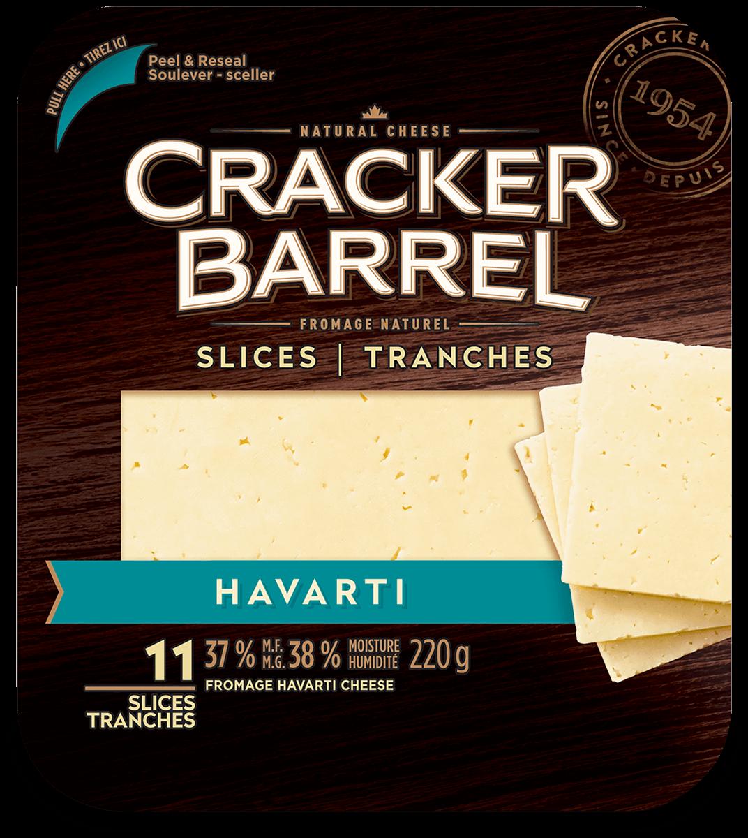 Cracker Barrel Cheese Slices - Havarti - 11 Slices - 220 g