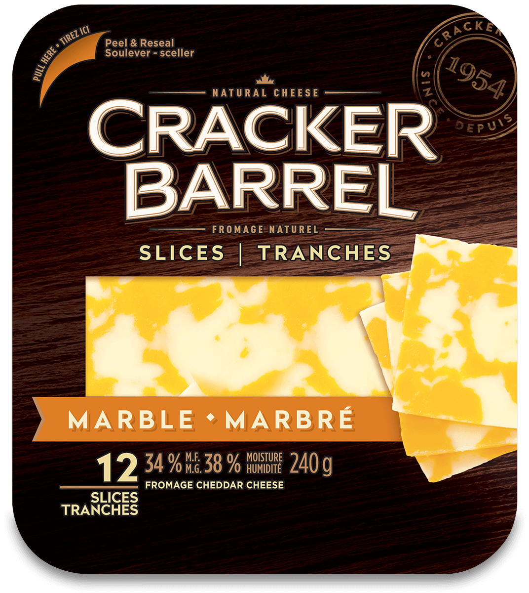 Cracker Barrel Cheese Slices - Marble - 12 Slices - 240 g