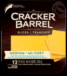 Cracker Barrel Cheese Slices - Medium Light - 12 Slices - 240 g