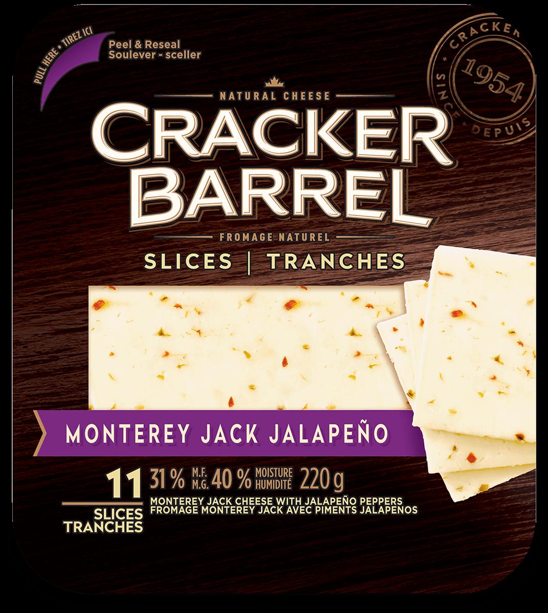 Cracker Barrel Cheese Slices - Monterey Jack With Jalapeño Pepper - 11 Slices - 220 g