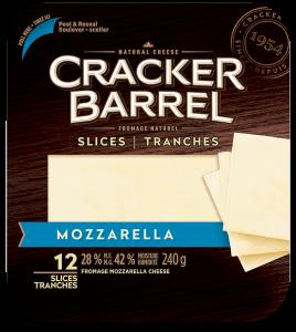 Cracker Barrel Cheese Slices - Mozzarella - 12 Slices - 240 g