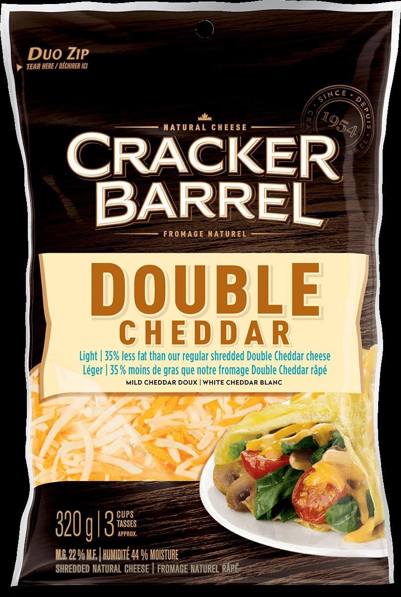 Cracker Barrel Shredded Cheese - Double Cheddar Light - 320 g