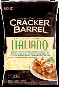 Cracker Barrel Shredded Cheese - 4 Cheese Italiano Light - 320 g