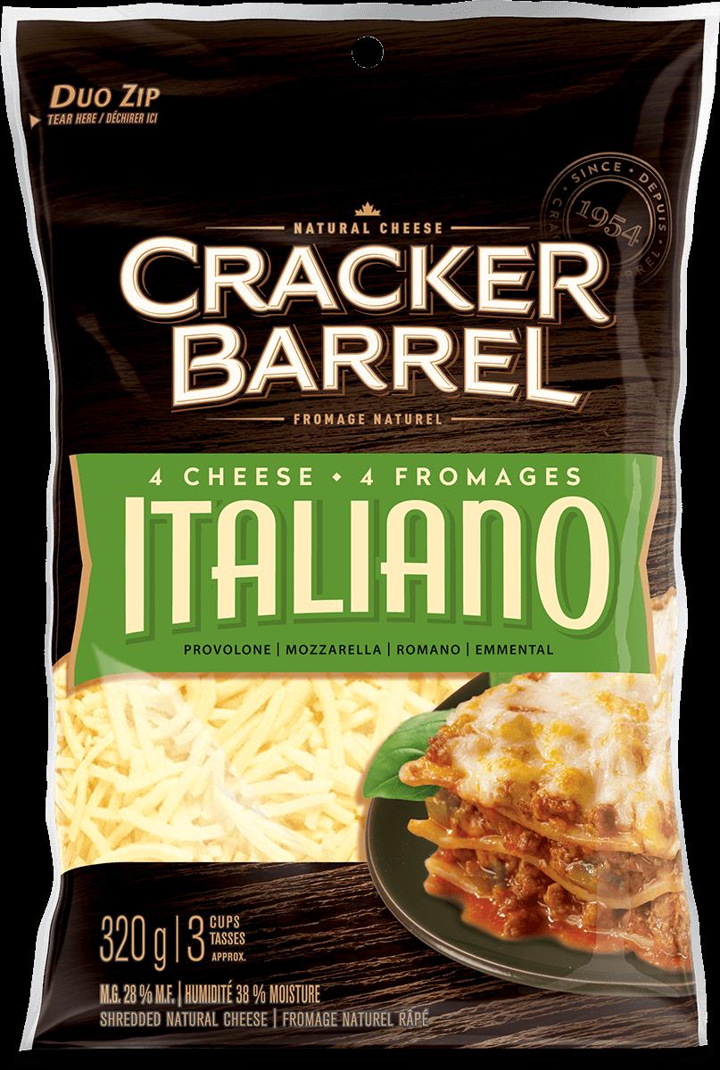 Cracker Barrel Shredded Cheese - 4 Cheese Italiano - 320 g
