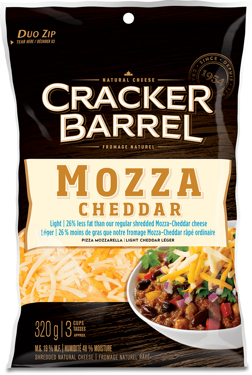 Cracker Barrel Shredded Cheese - Mozza Cheddar Light - 320 g