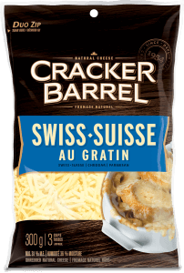 Cracker Barrel Shredded Cheese - Swiss au Gratin - 300 g