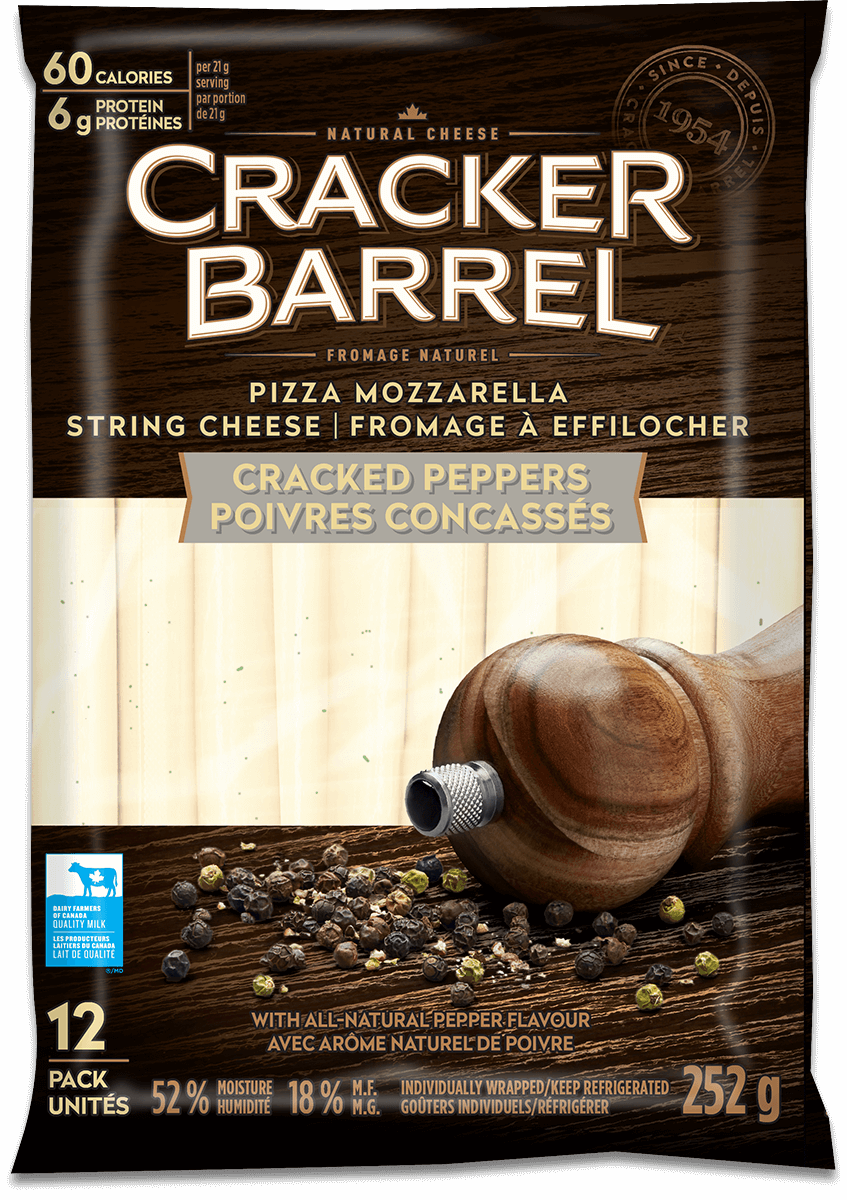 Cracker Barrel String Cheese - Cracked Peppers - 12 Pack - 252 g