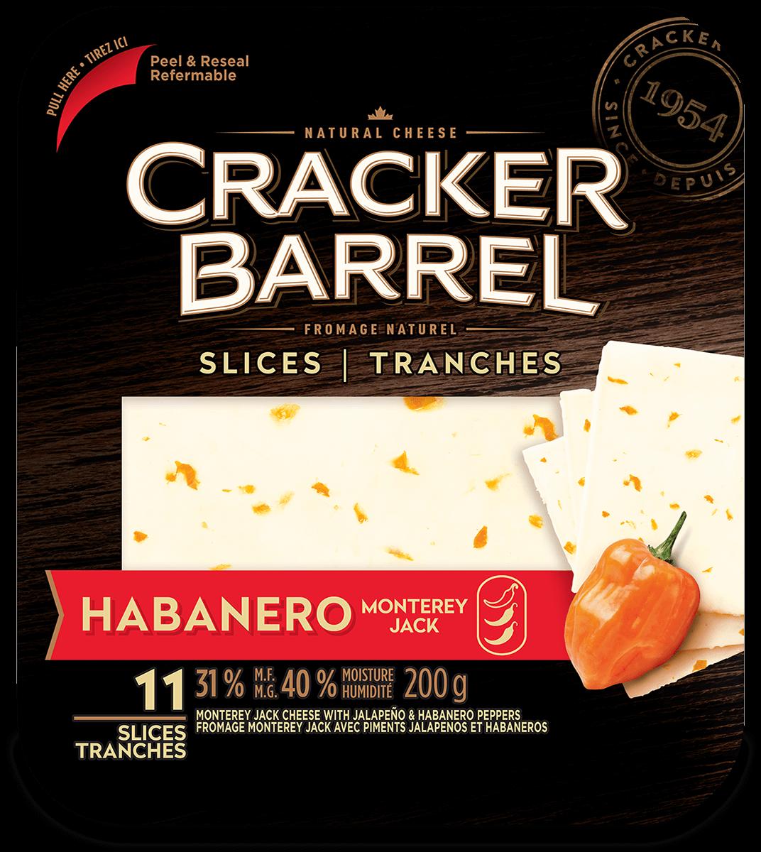 Cracker Barrel Cheese Slices - Habanero Monterey Jack - 11 Slices - 200 g