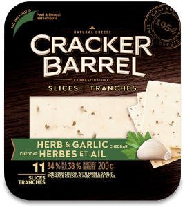 Cracker Barrel Cheese Slices - Herb & Garlic Cheddar - 11 Slices - 200 g