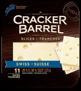 Cracker Barrel Cheese Slices - Swiss - 11 Slices - 220 g