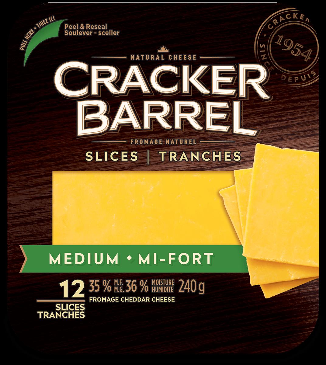 Cracker Barrel Cheese Slices - Medium - 12 Slices - 240 g
